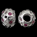 925 Sterling Silver European Beads, Rondelle, hollow design, without troll, real silver plated, with cubic zirconia, purplish red, 12.50x9mm, Hole:Approx 4.8mm, 3PCs/Bag, Sold by Bag