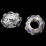 925 Sterling Silver European Beads, Rondelle, without troll, real silver plated, with cubic zirconia, grey violet, 12x8mm, Hole:Approx 5mm, 3PCs/Bag, Sold by Bag