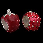925 Sterling Silver European Beads, Strawberry, red, without troll, with enamel, real silver plated, 7.50x10.50mm, Hole:Approx 4.8mm, 5PCs/Bag, Sold by Bag