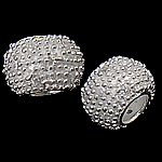 925 Sterling Silver European Beads, Rondelle, real silver plated, without troll, 11.50x7.50mm, Hole:Approx 5mm, 3PCs/Bag, Sold By Bag