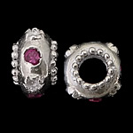 925 Sterling Silver European Beads, Rondelle, without troll, real silver plated, with cubic zirconia, purplish red, 6.50x10mm, Hole:Approx 4.5mm, 5PCs/Bag, Sold by Bag