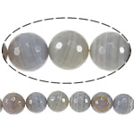 Natural Grey Agate Beads, Round, machine faceted & stripe, 8mm, Hole:Approx 1.5mm, Length:15 Inch, 5Strands/Lot, Sold By Lot