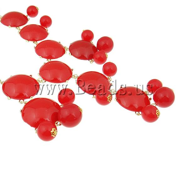 Buy Fashion Statement Necklace Zinc Alloy Resin & Iron & Acrylic zinc alloy lobster clasp gold color plated red nickel lead & cadmium free 32x33x9mm Sold Per 18.5 Inch Strand