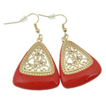 Zinc Alloy Earrings, iron earring hook, Triangle, gold color plated, enamel & with rhinestone & hollow, red, nickel, lead & cadmium free, 54x29x5mm, 12Pairs/Bag, Sold By Bag