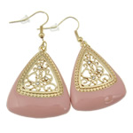 Zinc Alloy Earrings, iron earring hook, Triangle, gold color plated, enamel & with rhinestone & hollow, pink, nickel, lead & cadmium free, 54x29x5mm, 12Pairs/Bag, Sold By Bag