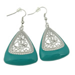Zinc Alloy Earrings, iron earring hook, Triangle, silver color plated, enamel & with rhinestone & hollow, turquoise blue, nickel, lead & cadmium free, 54x29x5mm, 12Pairs/Bag, Sold By Bag