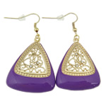 Zinc Alloy Earrings, iron earring hook, Triangle, gold color plated, enamel & with rhinestone & hollow, purple, nickel, lead & cadmium free, 54x29x5mm, 12Pairs/Bag, Sold By Bag