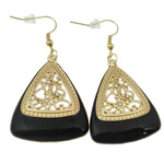Zinc Alloy Earrings, iron earring hook, Triangle, gold color plated, enamel & with rhinestone & hollow, black, nickel, lead & cadmium free, 54x29x5mm, 12Pairs/Bag, Sold By Bag