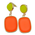 Zinc Alloy Earrings, stainless steel post pin, Rectangle, gold color plated, enamel, reddish orange, nickel, lead & cadmium free, 48x21mm, 12Pairs/Bag, Sold By Bag