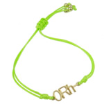 Zinc Alloy Bracelet, with Wax Cord, Letter, gold color plated, green, nickel, lead & cadmium free, 25x8.50x2.50mm, Sold Per Approx 7.5 Inch Strand