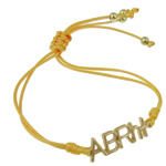 Zinc Alloy Bracelet, with Wax Cord, Letter, gold color plated, yellow, nickel, lead & cadmium free, 31x9x2mm, Sold Per Approx 7.5 Inch Strand