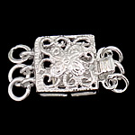925 Sterling Silver Box Clasp, Square, 3-strand & hollow, 9x9x5mm, 5PCs/Bag, Sold By Bag