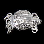 925 Sterling Silver Box Clasp Flat Round 3-strand   hollow 9x9x6mm 5PCs/Bag