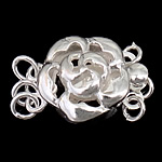 925 Sterling Silver Box Clasp, Flower, 3-strand & hollow, 11x11x6.50mm, 5PCs/Bag, Sold By Bag