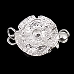 925 Sterling Silver Box Clasp, Flower, single-strand, 12x11x5mm, 5PCs/Bag, Sold By Bag