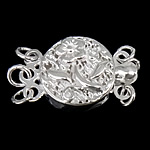 925 Sterling Silver Box Clasp, Flat Round, 3-strand, 10x11x4mm, 5PCs/Bag, Sold By Bag