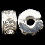 Klips mosięzny European, Mosiądz, Okrąg, Platerowane w kolorze srebra, z kamieniem, bez zawartości niklu, ołowiu i kadmu, 10.80x5.70x10.80mm, otwór:około 3.5mm, 10komputery/torba, sprzedane przez torba