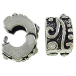 Brass European Clip, Rondelle, antique silver color plated, with rhinestone, nickel, lead & cadmium free, 9.50x9x6.50mm, Hole:Approx 4mm, Sold By PC