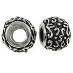 Lo zinco in lega European Beads, lega in zinco, Tamburo, placcato argento antico, senza filo, assenza di nichel,piombo&cadmio, 12x10mm, Foro:Appross. 5mm, Venduto da PC