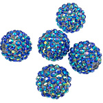 Resin Rhinestone Beads, 16 x18mm, Hole:Approx 2.5mm, 100PCs/Bag, Sold by Bag