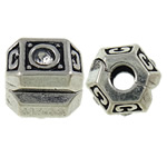 Brass European Clip, Drum, antique silver color plated, with rhinestone, nickel, lead & cadmium free, 10x9.3mm, Hole:Approx 3mm, Sold By PC