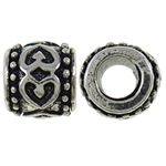 Zinc Alloy European Beads, Drum, antique silver color plated, without troll, nickel, lead &amp; cadmium free, 10x8.7mm, Hole:Approx 5mm, 10PCs/Bag, Sold by Bag
