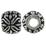 Zinc Alloy European Beads, Drum, antique silver color plated, without troll, nickel, lead &amp; cadmium free, 11x9.3mm, Hole:Approx 5mm, 10PCs/Bag, Sold by Bag