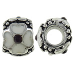 Zinc Alloy European Beads, Drum, antique silver color plated, without troll &amp; with rhinestone, nickel, lead &amp; cadmium free, 10x7.70x11mm, Hole:Approx 5mm, 10PCs/Bag, Sold by Bag