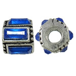 Zinc Alloy European Beads, Drum, antique silver color plated, with glass rhinestone &amp; without troll, nickel, lead &amp; cadmium free, 11x9.50x11.80mm, Hole:Approx 5mm, 10PCs/Bag, Sold by Bag