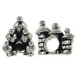 Zinc Alloy European Beads, House, antique silver color plated, without troll, nickel, lead &amp; cadmium free, 11.50x12.50x11.50mm, Hole:Approx 5mm, 10PCs/Bag, Sold by Bag