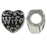 Zinc Alloy European Beads, Heart, antique silver color plated, without troll, nickel, lead &amp; cadmium free, 10.70x10x7.60mm, Hole:Approx 4.6mm, 10PCs/Bag, Sold by Bag