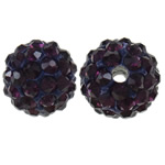 Rhinestone Clay Pave Beads, Round, with rhinestone, Amethyst, 10mm, Hole:Approx 2mm, 10PCs/Bag, Sold By Bag