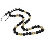 Ожерелья Шамбал, цинковый сплав, с Восковой шнур & Акрил, Круглая, плакирован золотом, со стразами, не содержит никель, свинец, 10.5mm, Продан через Приблизительно 20.5 дюймовый Strand