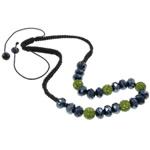 Ожерелья Шамбал, клей, с Восковой шнур & Кристаллы, Круглая, Связанный вручную, со стразами, 10.5mm, Продан через Приблизительно 20.5 дюймовый Strand
