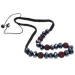 Ожерелья Шамбал, клей, с Восковой шнур & Кристаллы, Круглая, Связанный вручную, со стразами, темно-красный, 12mm, Продан через Приблизительно 19.5 дюймовый Strand