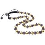Ожерелья Шамбал, цинковый сплав, с Восковой шнур & Кристаллы, Круглая, плакирован золотом, со стразами, не содержит никель, свинец, 10mm, Продан через Приблизительно 22 дюймовый Strand