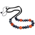 Ожерелья Шамбал, клей, с Восковой шнур & Кристаллы, Круглая, плакирован AB цветом, со стразами, 17mm, Продан через Приблизительно 21.5 дюймовый Strand