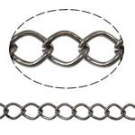 Iron Rhombus Chain, Donut, plumbum black color plated, nickel, lead & cadmium free, 7x10x1.40mm, Length:25 m