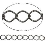 Iron Rhombus Chain, Donut, plumbum black color plated, nickel, lead & cadmium free, 10x12.50x1.40mm, Length:25 m