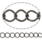 Iron Rhombus Chain, Donut, plumbum black color plated, nickel, lead & cadmium free, 8x10x1.40mm, Length:25 m