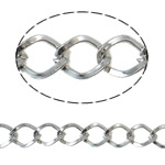 Iron Rhombus Chain, Donut, platinum color plated, nickel, lead & cadmium free, 6.70x8x1.30mm, 50m/Lot, Sold By Lot