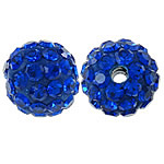 Rhinestone Clay Pave Beads, Round, with rhinestone, Sapphire, 10mm, Hole:Approx 2mm, 10PCs/Bag, Sold By Bag