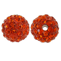 Rhinestone Clay Pave Beads, Round, with rhinestone, Fire Opal, 10mm, Hole:Approx 2mm, 10PCs/Bag, Sold By Bag