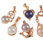 Freshwater Pearl Pendants with Rhinestone   Brass natural with rhinestone mixed colors nickel lead   cadmium free 9-10mm 19x17.5-24x13mm Hole:Approx 4mm 10PCs/Bag