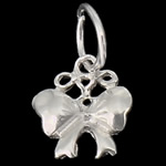925 Sterling Silver Pendant, Bowknot, 7.50x8x1.50mm, Hole:Approx 4mm, 30PCs/Bag, Sold By Bag