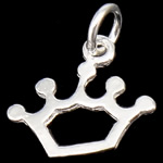 925 Sterling Silver Pendant, Crown, 11.50x10x0.50mm, Hole:Approx 3mm, 30PCs/Bag, Sold By Bag