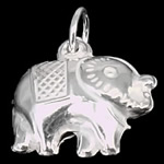 925 Sterling Silver Pendant, Elephant, 12.50x12x5mm, Hole:Approx 3.5mm, 20PCs/Bag, Sold By Bag