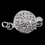 925 Sterling Silver Box Clasp Flat Round single-strand   hollow 8.80x8.80x4.30mm Hole:Approx 1.5mm 10PCs/Bag