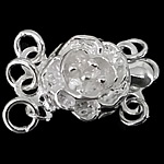 925 Sterling Silver Box Clasp Flower 3-strand 8.30x8.30x5.30mm Hole:Approx 1.5mm 10PCs/Bag