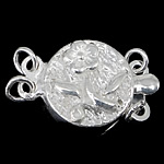 925 Sterling Silver Box Clasp Coin 2-strand 10.50x10.50x3.50mm Hole:Approx 1.5mm 10PCs/Bag